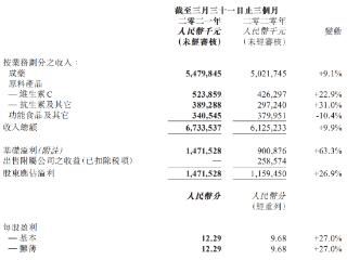石药集团一季度归母净利润14.72亿元,抗肿瘤产品收入同比增20% 石药集团,港股财报,01093.HK