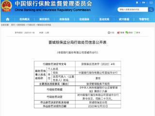 中国银行晋城分行因信贷管理服务不规范被罚款20万元 资讯,中国银行信贷管理服务,中国银行被罚款20万,信用卡逾期规范