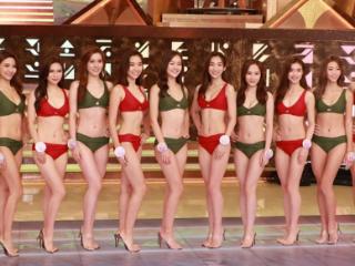 2021届香港小姐决赛的港姐,穿泳装亮相舞台,画面十分养眼 动态,2021港姐泳装,邵初身材,香港小姐选秀出道明星