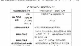 华晨东亚汽车金融违法遭罚 内控严重违反审慎经营规则